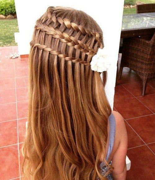 Flower Girl Hairstyles - Triple Waterfall Style