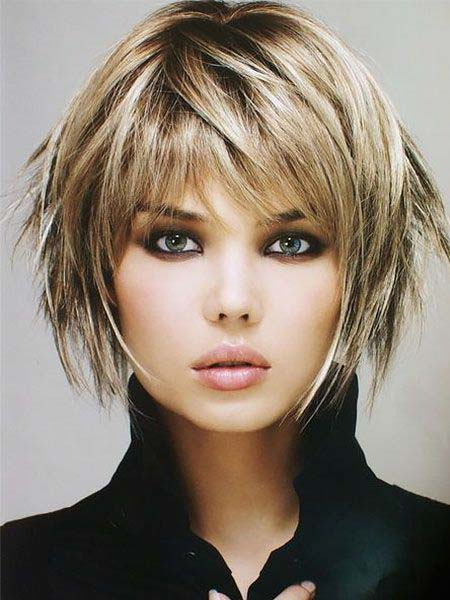 short length with volume and bangs